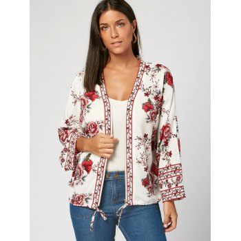 V Neck Flower Print Zip Up Blouse - M M