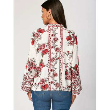 V Neck Flower Print Zip Up Blouse - L L