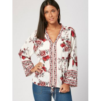 V Neck Flower Print Zip Up Blouse - 2XL 2XL