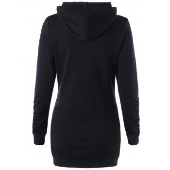 Ruched Zip Up Hoodie - BLACK M