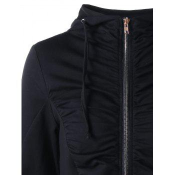 Ruched Zip Up Hoodie - BLACK BLACK