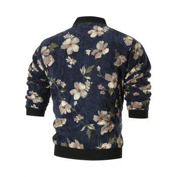 Stand Collar Flower Corduroy Jacket - CADETBLUE 2XL