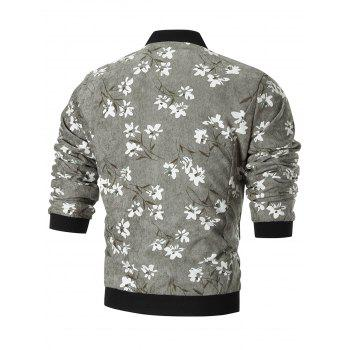 Stand Collar Corduroy Floral Jacket - GRAY 3XL