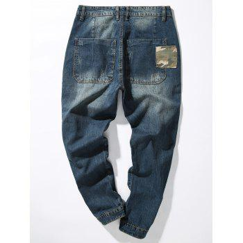 Camouflage Panel Pocket Loose Fit Harem Jeans - DENIM BLUE 38