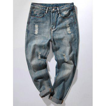 Bleach Wash Harem Distressed Jeans - DENIM BLUE 32