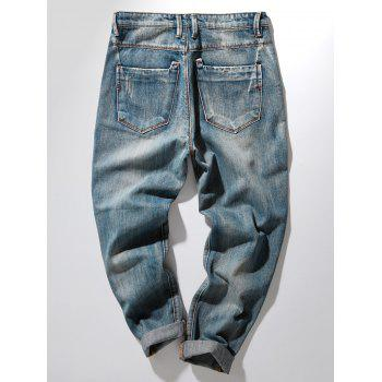 Bleach Wash Harem Distressed Jeans - DENIM BLUE 38