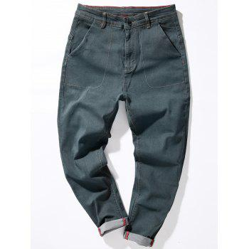 Loose Fit Zipper Fly Suture Pockets Harem Jeans - GRAY 38