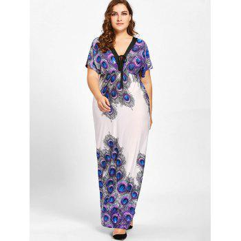 Plus Size Peacock Feather Print Empire Waist Dress - PURPLE PURPLE