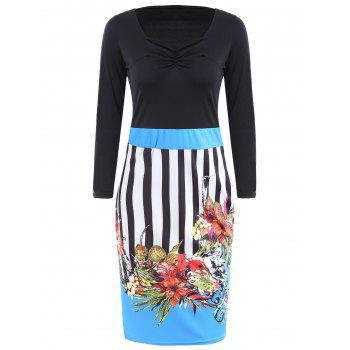 Sweetheart Neck Striped Floral Print Bodycon Dress - BLUE BLUE