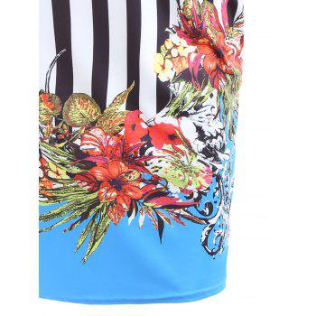 Sweetheart Neck Striped Floral Print Bodycon Dress - 2XL 2XL