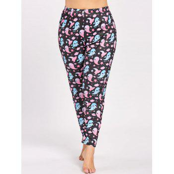 Plus Size Cute Halloween Ghost Printed Pants - 3XL 3XL