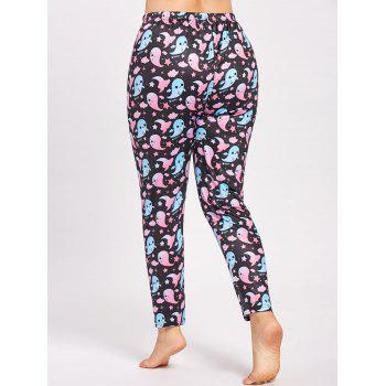 Plus Size Cute Halloween Ghost Printed Pants - 5XL 5XL