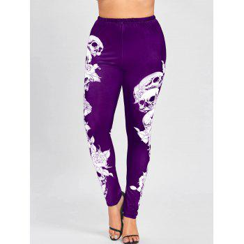 Plus Size Halloween Monochrome Skulls Leggings - PURPLE PURPLE