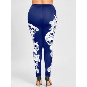 Plus Size Halloween Monochrome Skulls Leggings - BLUE BLUE