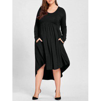 Plus Size High Low T Shirt Dress - BLACK BLACK