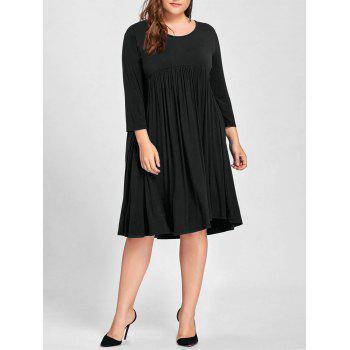 Plus Size Empire Waist Knee Length Dress - BLACK 3XL