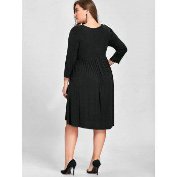 Plus Size Empire Waist Knee Length Dress - 3XL 3XL