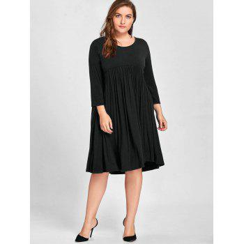 Plus Size Empire Waist Knee Length Dress - BLACK 5XL