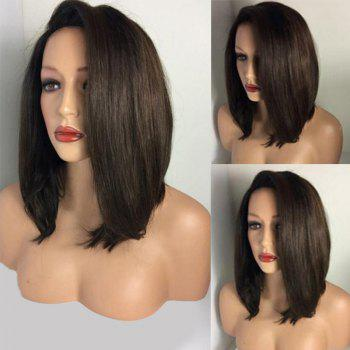 Deep Side Parting Straight Medium Bob Synthetic Wig - BROWN BROWN