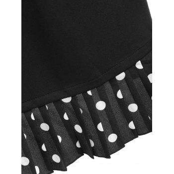 Plus Size Bell Sleeve Polka Dot Dress - BLACK 5XL