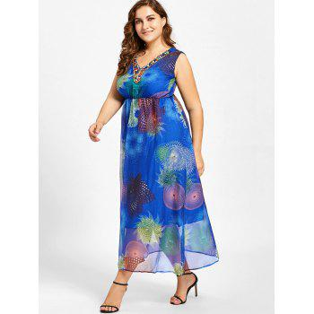 Plus Size Beads Embellished Floral Print Maxi Dress - 2XL 2XL