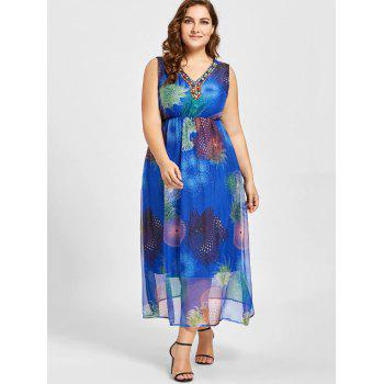 Plus Size Beads Embellished Floral Print Maxi Dress - BLUE BLUE