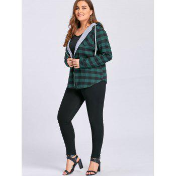 Plus Size Tartan Plaid Drawstring Hoodie - GREEN GREEN
