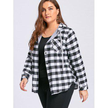 Plus Size Tartan Plaid Drawstring Hoodie - GRAY GRAY