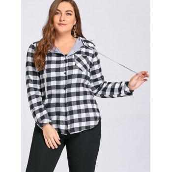 Plus Size Tartan Plaid Drawstring Hoodie - GRAY 2XL
