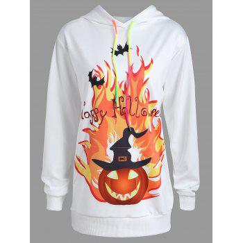 Plus Size Happy Halloween Pumpkin Print Hoodie - WHITE WHITE