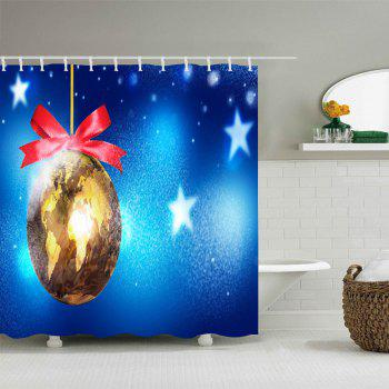 Christmas Map Bauble Print Waterproof Bathroom Shower Curtain - BLUE W71 INCH * L71 INCH