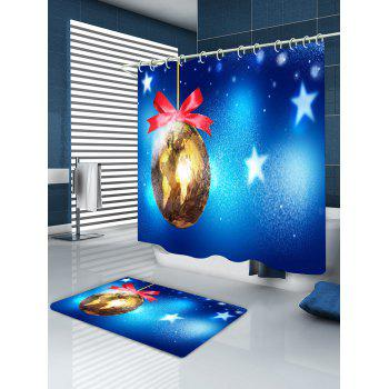 Christmas Map Bauble Print Waterproof Bathroom Shower Curtain - BLUE W71 INCH * L79 INCH