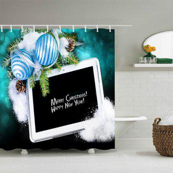 Merry Christmas Balls Print Waterproof Bathroom Shower Curtain - BLACK BLACK