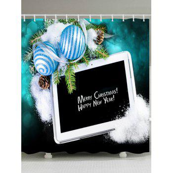 Merry Christmas Balls Print Waterproof Bathroom Shower Curtain - BLACK W71 INCH * L71 INCH
