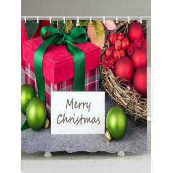 Christmas Baubles Gift Print Waterproof Bathroom Shower Curtain - COLORMIX W59 INCH * L71 INCH