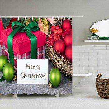 Christmas Baubles Gift Print Waterproof Bathroom Shower Curtain - W71 INCH * L71 INCH W71 INCH * L71 INCH