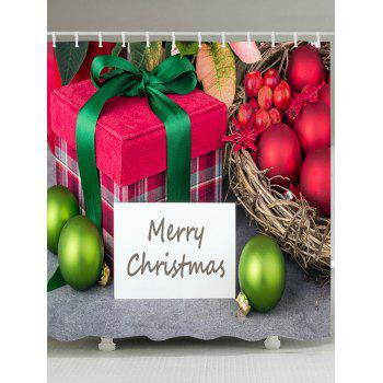 Christmas Baubles Gift Print Waterproof Bathroom Shower Curtain - COLORMIX COLORMIX