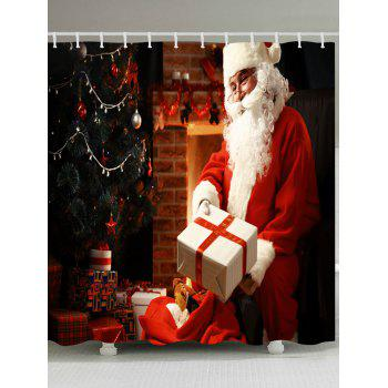 Christmas Santa Presents Print Waterproof Bathroom Shower Curtain - RED RED