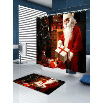 Christmas Santa Presents Print Waterproof Bathroom Shower Curtain - W71 INCH * L79 INCH W71 INCH * L79 INCH