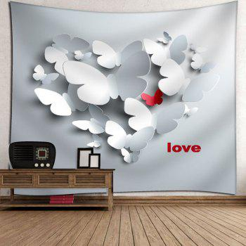 Love Butterfly Pattern Wall Tapestry - GREY WHITE W91 INCH * L71 INCH
