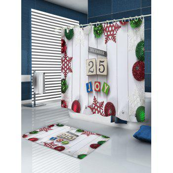 Christmas Baubles Joy Print Waterproof Bathroom Shower Curtain - WHITE W71 INCH * L71 INCH