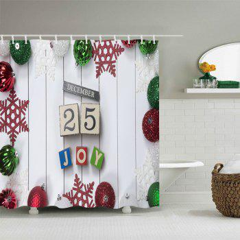 Christmas Baubles Joy Print Waterproof Bathroom Shower Curtain - WHITE W71 INCH * L79 INCH