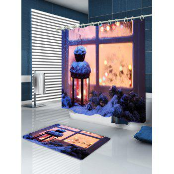 Christmas Lantern Print Waterproof Bathroom Shower Curtain - COLORMIX W59 INCH * L71 INCH
