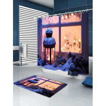 Christmas Lantern Print Waterproof Bathroom Shower Curtain - COLORMIX W71 INCH * L79 INCH
