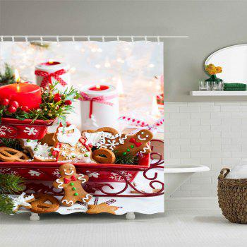 Christmas Candle Cookies Print Waterproof Bathroom Shower Curtain - COLORMIX COLORMIX