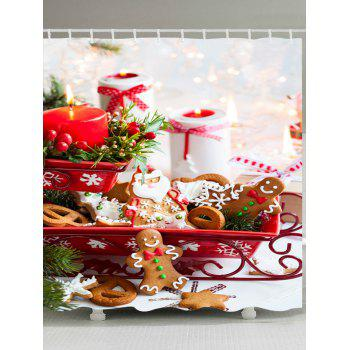 Christmas Candle Cookies Print Waterproof Bathroom Shower Curtain - COLORMIX W71 INCH * L79 INCH