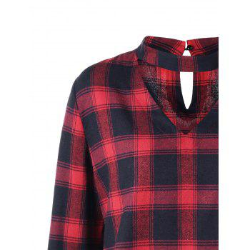 Plus Size Plaid Flare Sleeve Choker Blouse - RED/BLACK XL