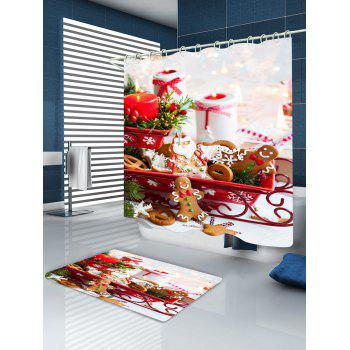Christmas Candle Cookies Print Waterproof Bathroom Shower Curtain - W71 INCH * L79 INCH W71 INCH * L79 INCH