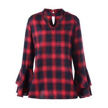 Plus Size Plaid Flare Sleeve Choker Blouse - RED WITH BLACK 2XL