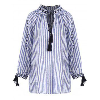 Plus Size Striped Tassel High Low Keyhole Blouse - BLUE STRIPE BLUE STRIPE